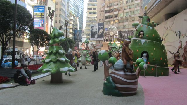 Cheesy xmas decorations at Times square in Chan Wai