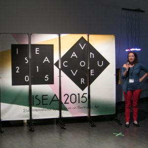 """Linda Kronman presenting the """"Behind the Smart World"""" research lab at ISEA 2015"""