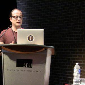 Andreas Zingerle presenting his paper at ISEA 2015