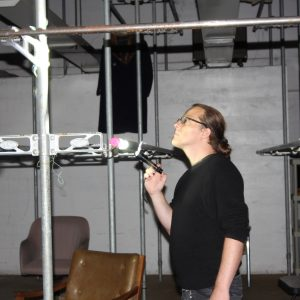 Andreas exploring the sound installation in the fur factory